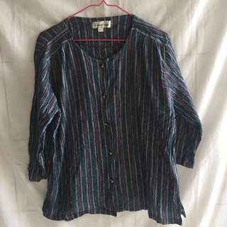 Blouse Garis Navy Lengan 3/4