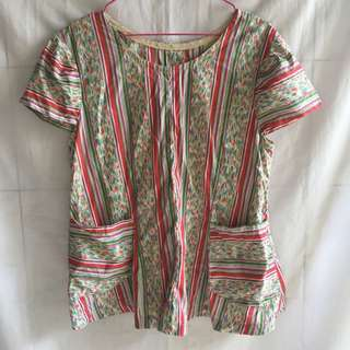 Blouse Garis Art Motif