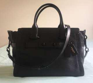 Authentic Coach Swagger Carryall Bag in Black Nubuck Pebbled Leather