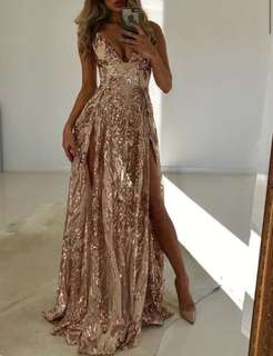 Gold sequin formal dress
