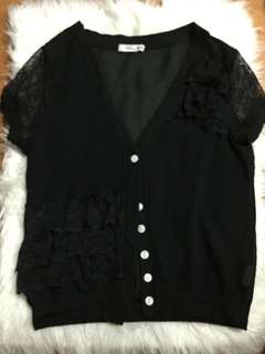 Korean black laced cover up