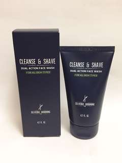 Selvedge grooming cleanse & shave, dual action 男士抗氧化保濕潔面膏125ml, 2-in-1 antioxidant rich face wash, made in Italy, 全新, exp. date 8/2018