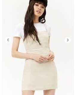 Linen Summer Beige Mini Dress Square Neck