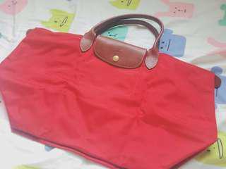 Longchamp經典招牌鮮紅色餃子袋 中size 手挽 手柄款 手提包 斯文