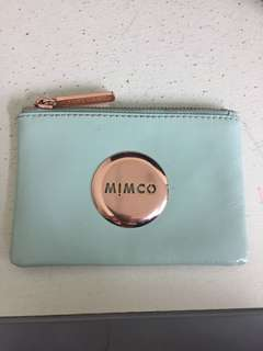 Mimco green/mint and rose gold pouch