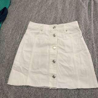 Topshop White Denim Skirt - Size 8
