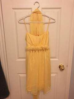 Yellow cocktail dress with scarf, Size S