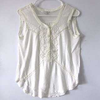--RESERVED-- (S-M) American Eagle Outfitters sleeveless top with crochet accent. Nice in actual.