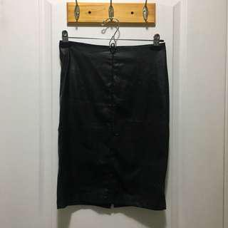 ONLY midi leather skirt (Sz 36)