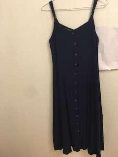 Mid length navy button up dress