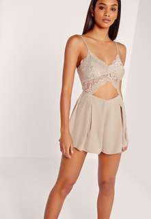 Missguided lace cut out playsuit