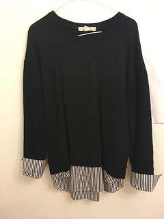 Black sweater with sleeve detailing