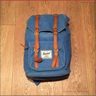 Herschel x beams special edition vintage denim leather blue backpack bag