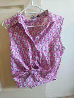 Pink daisy tie up top