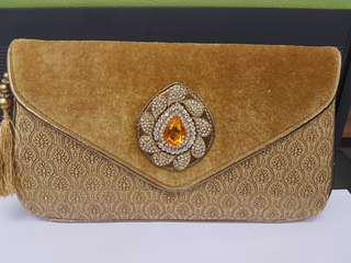 Preloved Dinner Clutch Classic Design in gold colour
