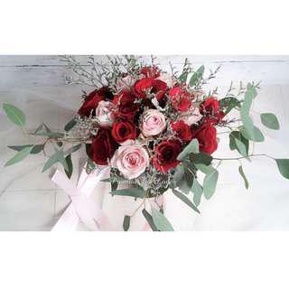 Rustic Fresh Red & Light Pink & Green hand bouquet (Wedding / ROM/ Bridesmaid / Proposal/ Anniversary/Birthday)