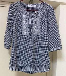 中袖格仔衫Size:T4