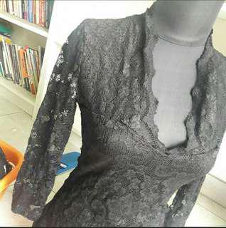 Kebaya Brukat / Brokat Hitam Wanita Bodyfit