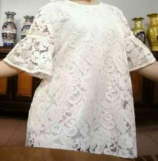 Baju Brukat / Brokat Wanita Putih