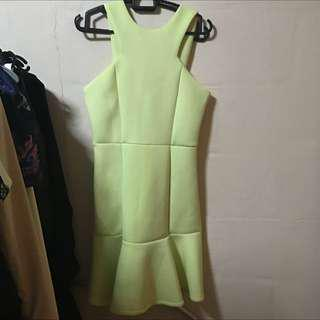 Tracyeinny yellow scuba material dress