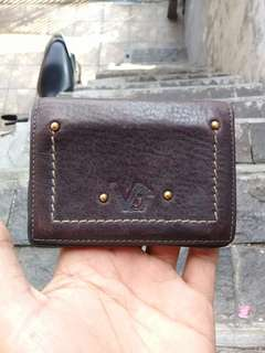 Gianni Versace Card Holder Leather Italy Men's Brown AUTHENTIC
