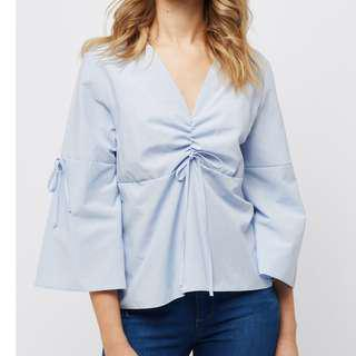 [Free Pos] Baby Blue Flared Sleeve Ruched Top