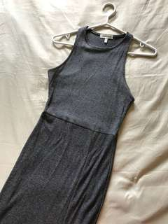 Grey fitted maxi dress w/ slit