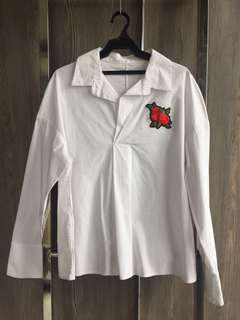 Long Sleeves White with rose patch