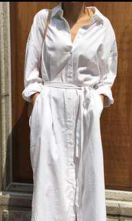 🚚 全新白色寬鬆襯衫綁帶洋裝