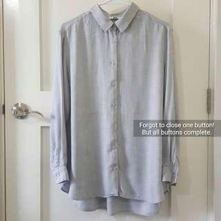 UNIQLO Gray Button-up Shirt (Soft Fabric)