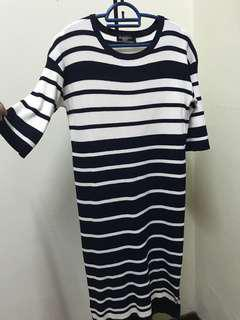 Downtown sweater dress white navy