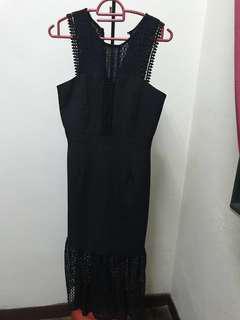 Nichii Black Lace Long Dress