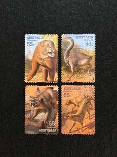 2008 Australia Mega Fauna Series  'Peel & Stick Issue' 4 Values Used Set