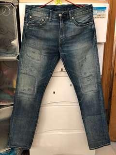 W32 Levi's LVC 511 破壞補強redline jeans