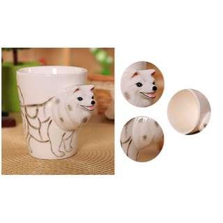 HK$38/1PC ~ Dog ~ 全新全人手製造立體物動陶瓷杯 咖啡杯 附送長柄瓷羹 New Handmade Coffee Cup Mug