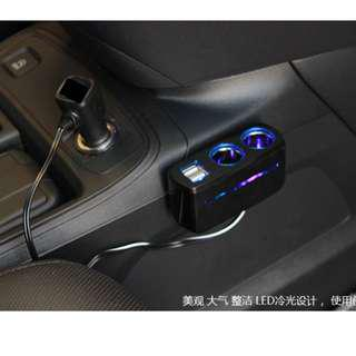 CHR Car Charger With 2 USB & 2 Cigarette Lighter Socket For Handphone, Tablet PC, GPS Camera, Air Purifier