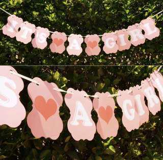 [Sellabrations] SALE It's a Girl / Boy Bunting Baby Shower Gender Reveal Party