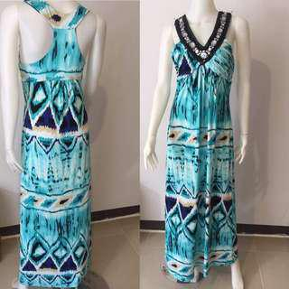 Mint Green Printed Maxi Dress