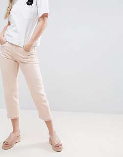 Monki Light Pink Mom Jeans Frayed Edges