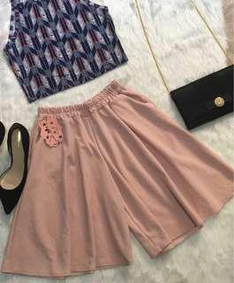 Blush Pink Cullotes with Side Pocket