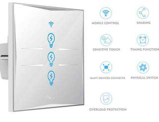 (967) Wifi Smart Light Switch, In-wall Tempered Glass Touch-Screen WLAN Light Switch,Works With Amazon Alexa And Google Home,Control Your Fixtures From Anywhere,Timing Function,Overload Protection,No Hub Required (Switch-3 Gang)