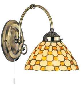 (966) SEARCHLIGHT RAINDROP BROWN TIFFANY ANTIQUE BRASS 1 LIGHT WALL BRACKET (BRACKET ONLY)