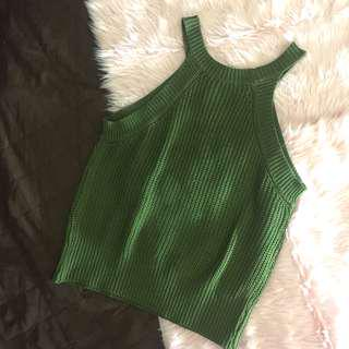 BNWOT Brandy Melville Inspired Knitted Halter Semi Cropped Top