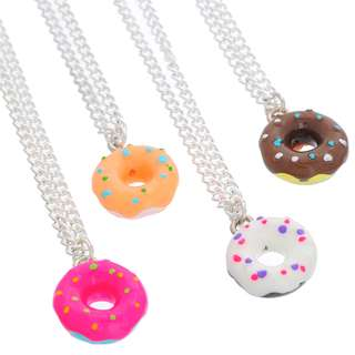 1x Cute resin Doughnut Donut Charm Pendant Necklace Pink Jewelry Adjustable length