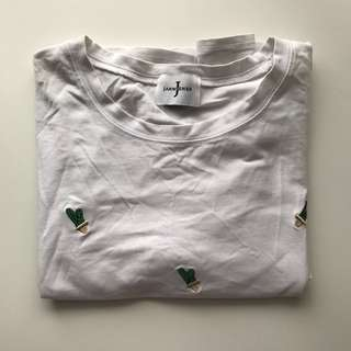 Cactus Embroidered White Print Top