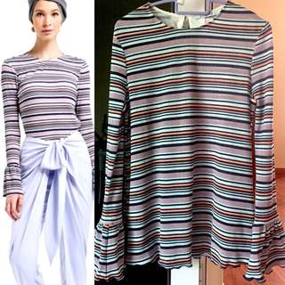 Lubna Pleated Stripe Top