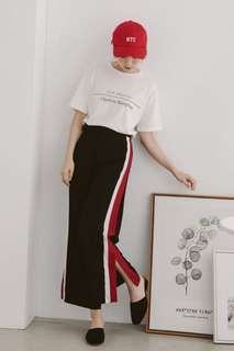 Red Trim Slit Sporty Trousers