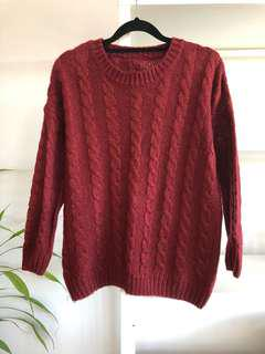 Burgundy Red Cable Knit