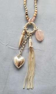 粉晶石銀飾流蘇長頸鏈 (包郵)