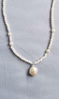 白水晶配珍珠短頸鏈 (包郵)